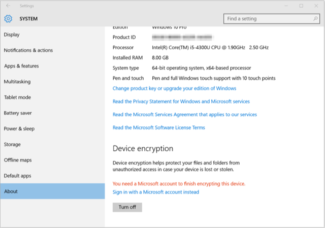 Risk Management: Windows 10 encryption check